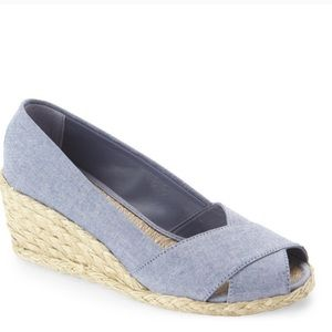 Ralph Lauren Cecilia Chambray Espadrille Wedge